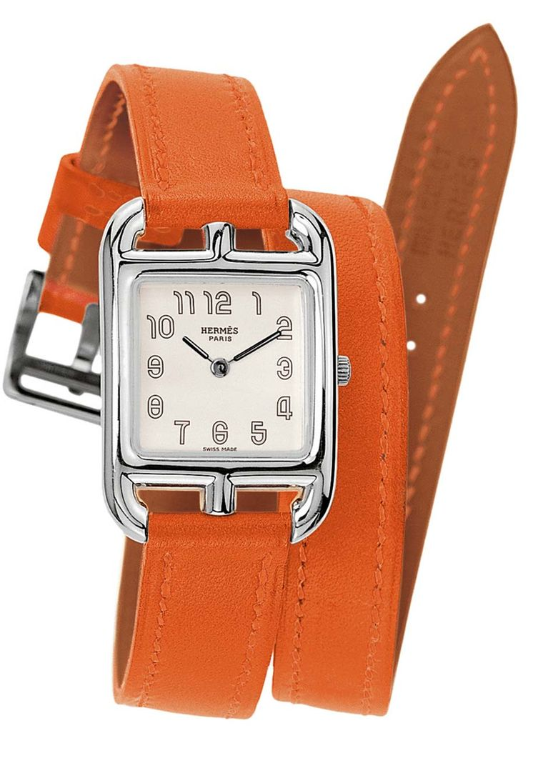 Hermès Cape Cod watch in stainless steel. The classic orange Hermès leather strap is designed to wrap twice around the wrist (£1,800).