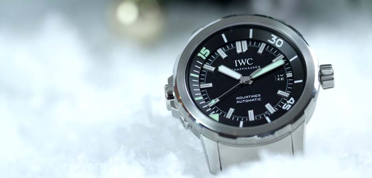 The comfortably sized 42mm stainless steel case of the IWC Aquatimer Automatic dive watch features the innovative SafeDive system on both the external and interior bezels (£4,250).