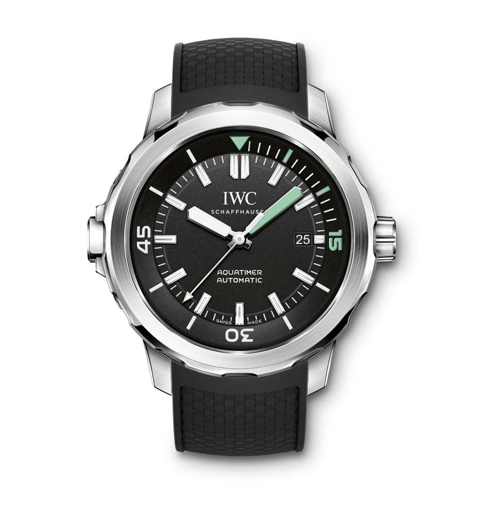 The IWC Aquatimer Automatic is a serious dive watch with just three hands for optimal legibility. The 42mm stainless steel case features IWC watches innovative SafeDive system on both the external and interior bezels (£4,250). Available from Wempe, 43-44