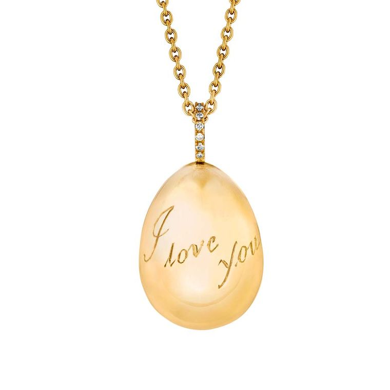 Fabergé egg pendants are available in white, yellow or rose gold, with diamonds. You can choose to personalise your pendant with initials, a date or a message of your choice (£2,815).