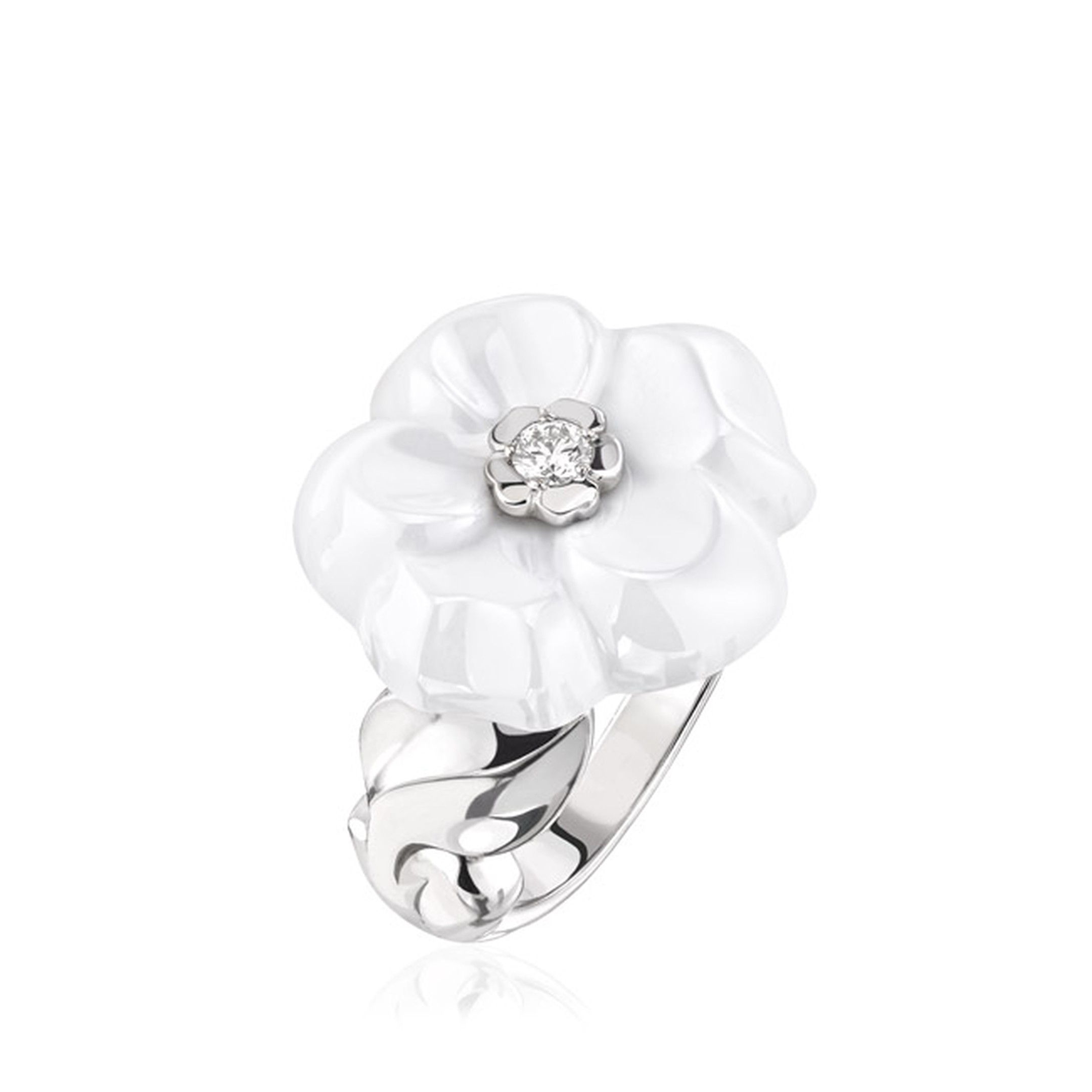 Chanel Camélia Galbé small white ceramic ring with a brilliant-cut white diamond at its heart, set on a twisted white gold band (£2,850).