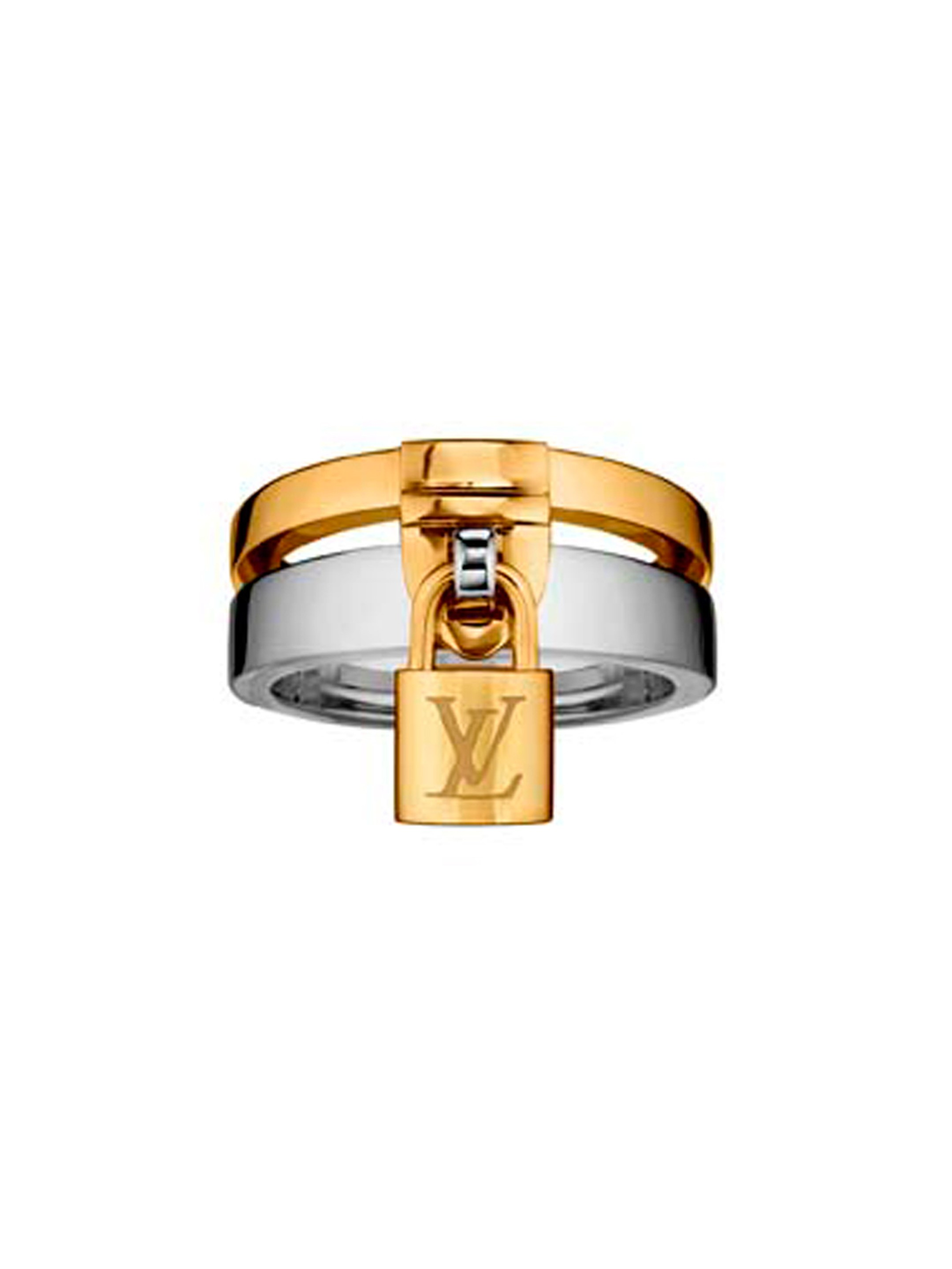 The Louis Vuitton Lockit ring in yellow gold is secured to the white gold ring with a LV embossed padlock, reminiscent of the locks on Louis Vuitton's iconic steamer trunks (£2,620).
