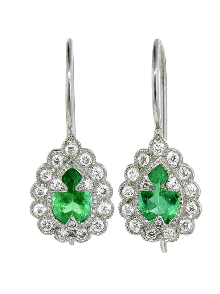 Cathy Waterman platinum, diamond and emerald earrings. Available from Ylang23 ($4,250).