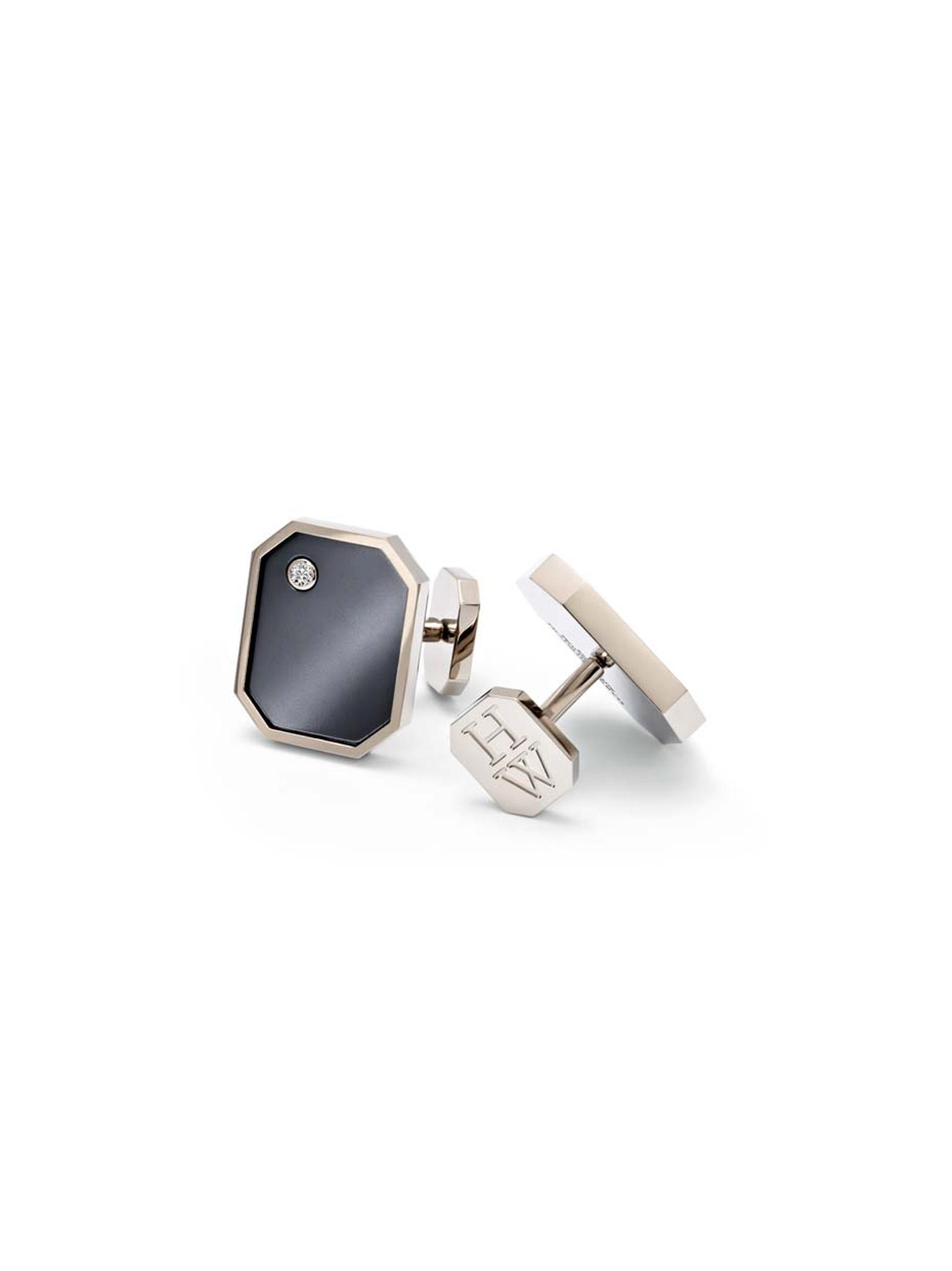 Harry Winston Zalium Collection men's cufflinks form part of a new line of sleek jewelry for men made from the high-tech zirconium-based alloy.