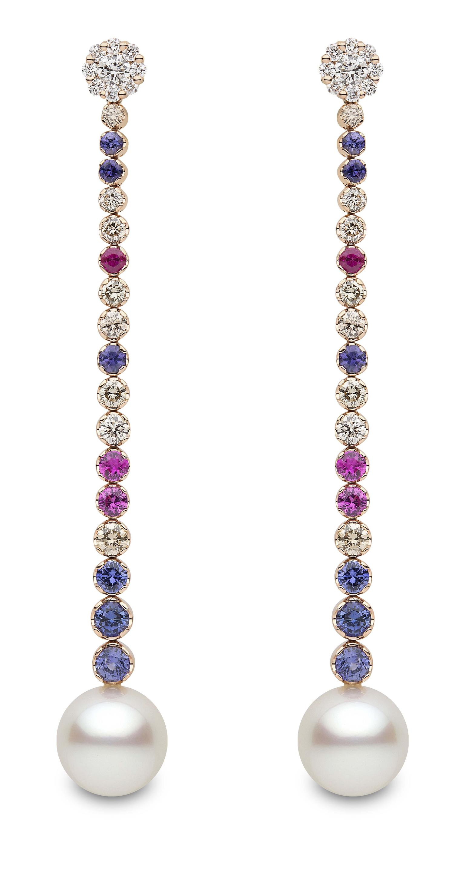 Yoko London South Sea pearl earrings with multi-coloured sapphires (£POA).