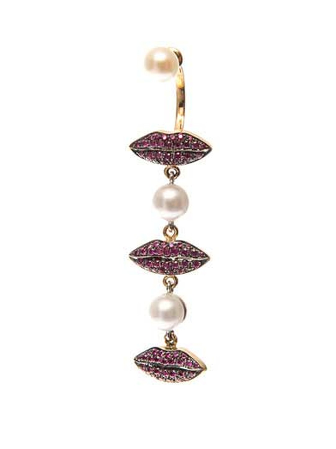 Delfina Delettrez pearl earring in gold with ruby lips (£3,665).