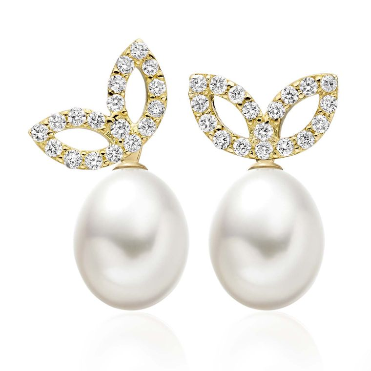 Winterson Lief Enchanted Akoya pearl earrings in yellow gold with diamonds (£1,630).