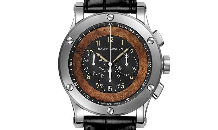 The dial of the Ralph Lauren Automotive Chronograph incorporates brown elm burl wood, the same that is featured on the dashboard of the vintage car.