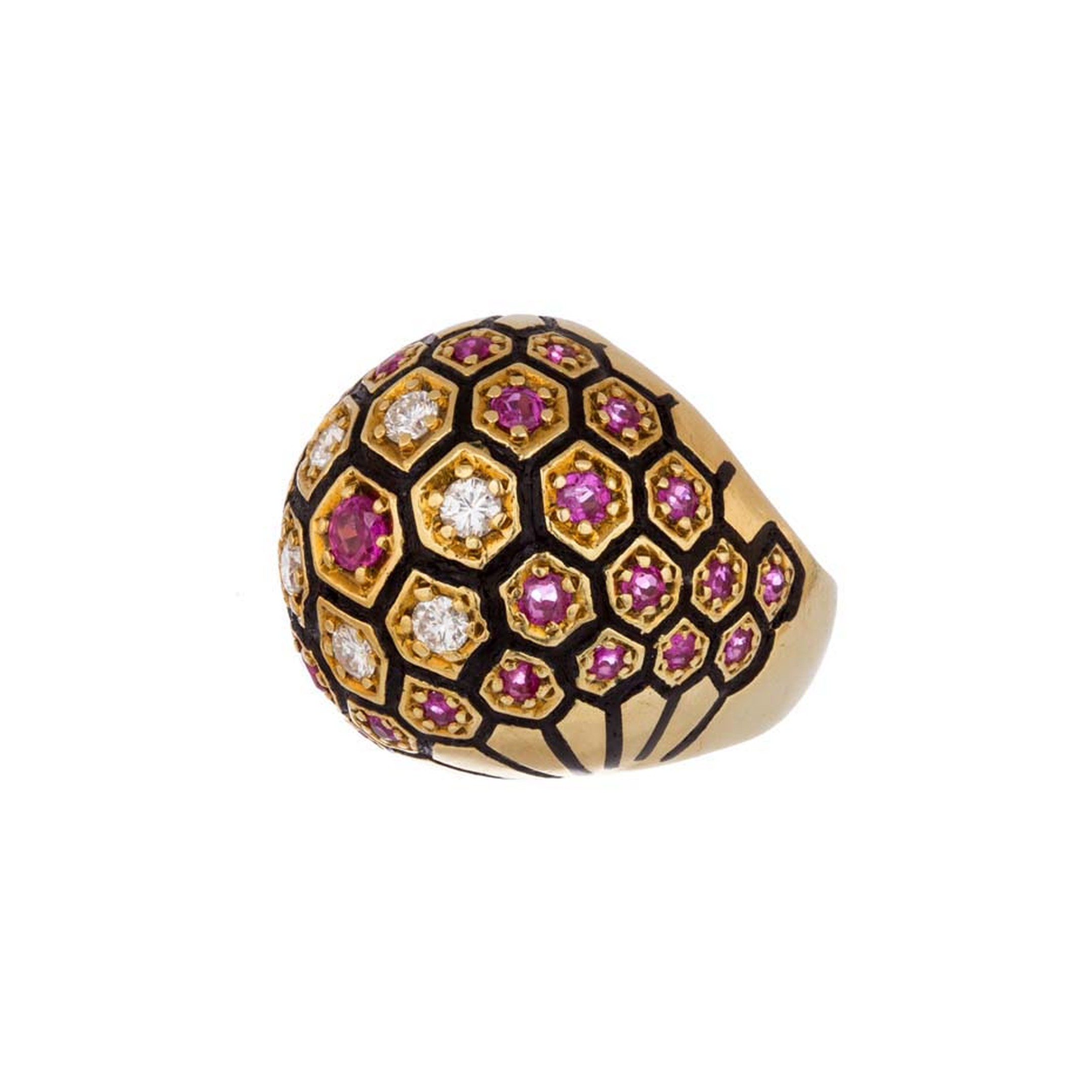 Broken English vintage domed yellow gold ring with white diamonds, rubies and black enamel ($7,600).