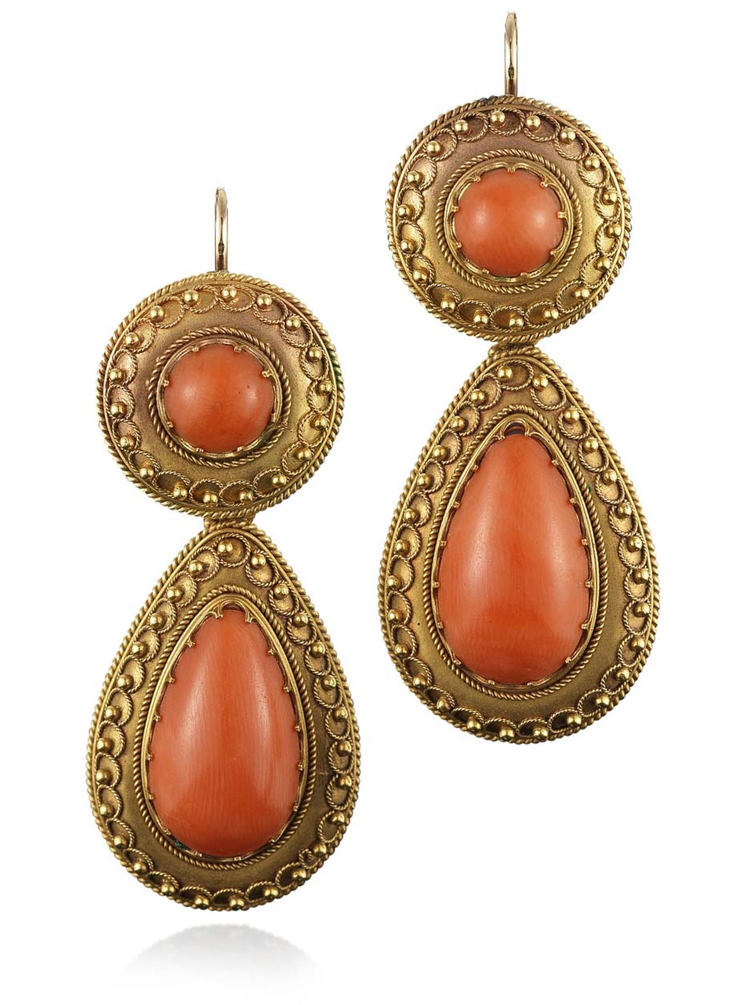 Fred Leighton Etruscan Revival pendant earrings featuring gold and coral, circa 1870 ($7,800).
