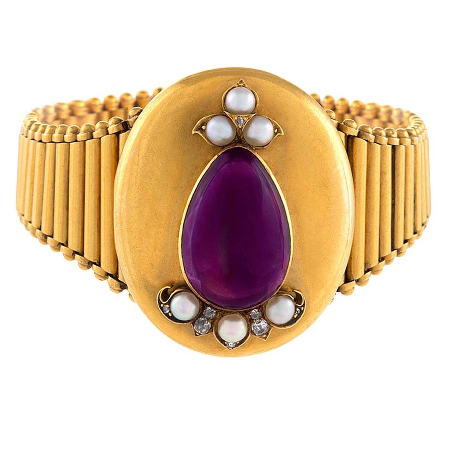 Victorian amethyst, pearl and diamond gold locket/bracelet. Available at1stdibs.com ($7,500).