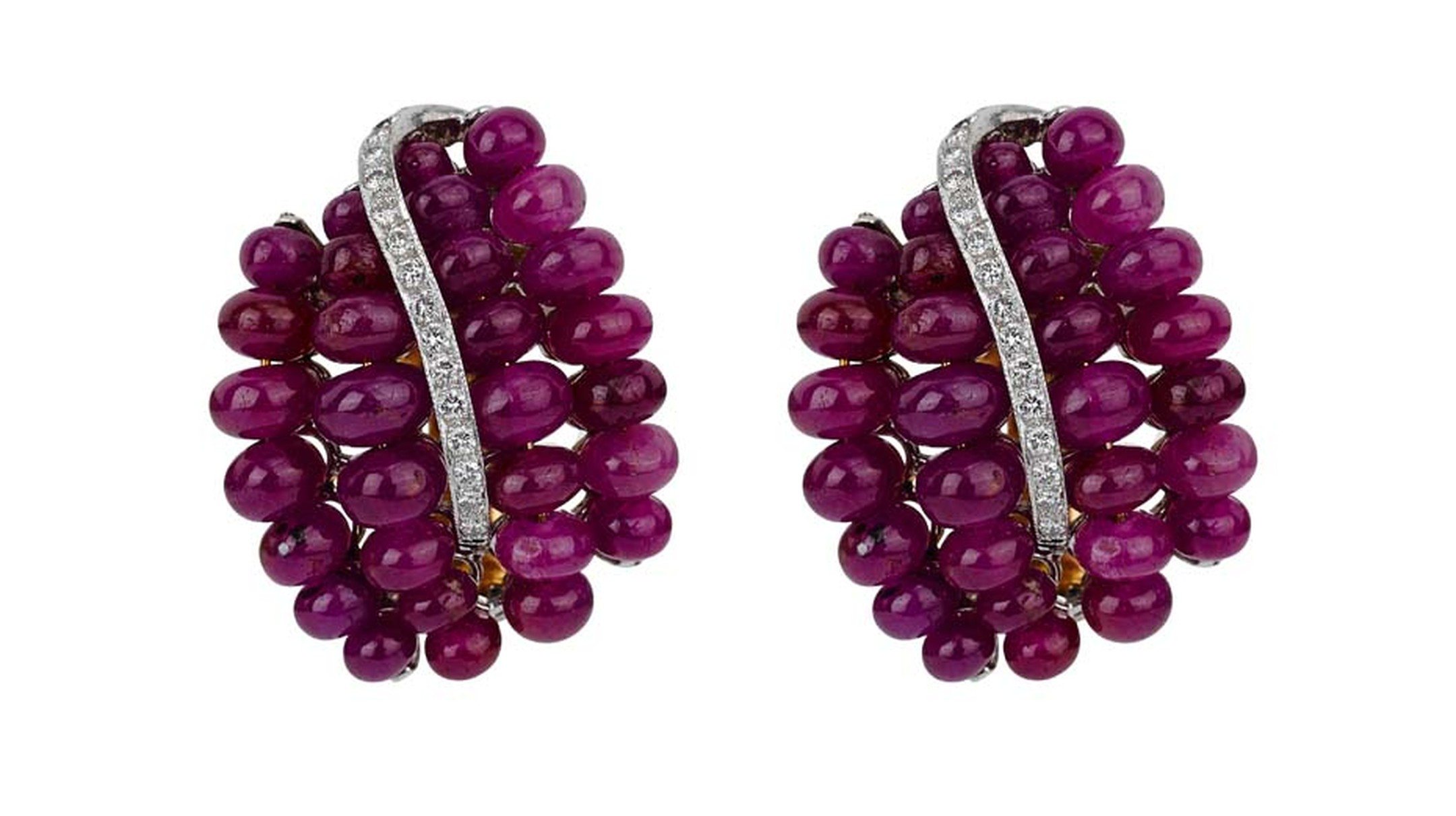 Latest Revival's deep purple-pink ruby estate earrings with diamonds.