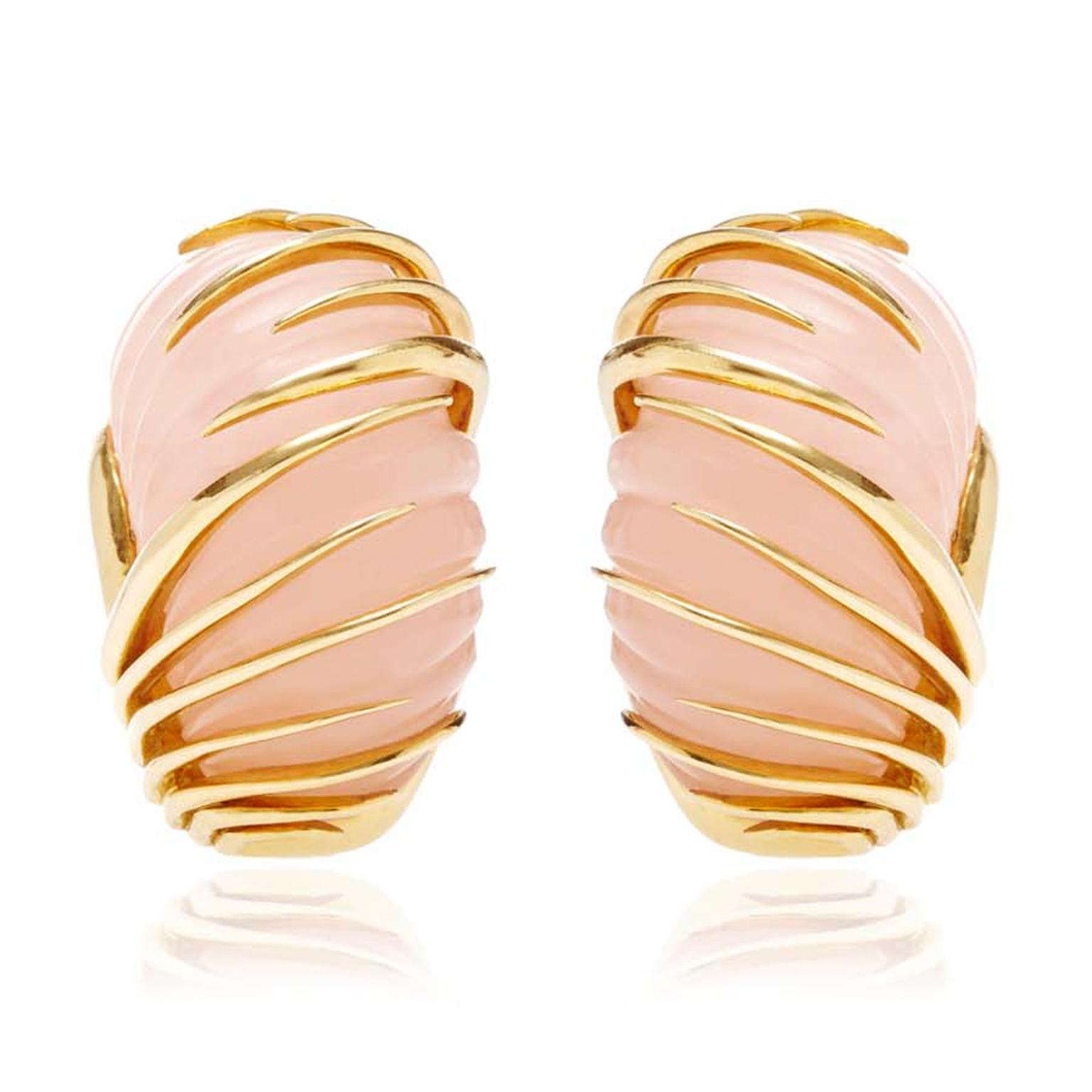 Simon Teakle for Moda Operandi vintage Van Cleef and Arpels earrings featuring a blush-pink of rose quartz with elegant gold tentacles wrapping themselves around the stones ($5,800).