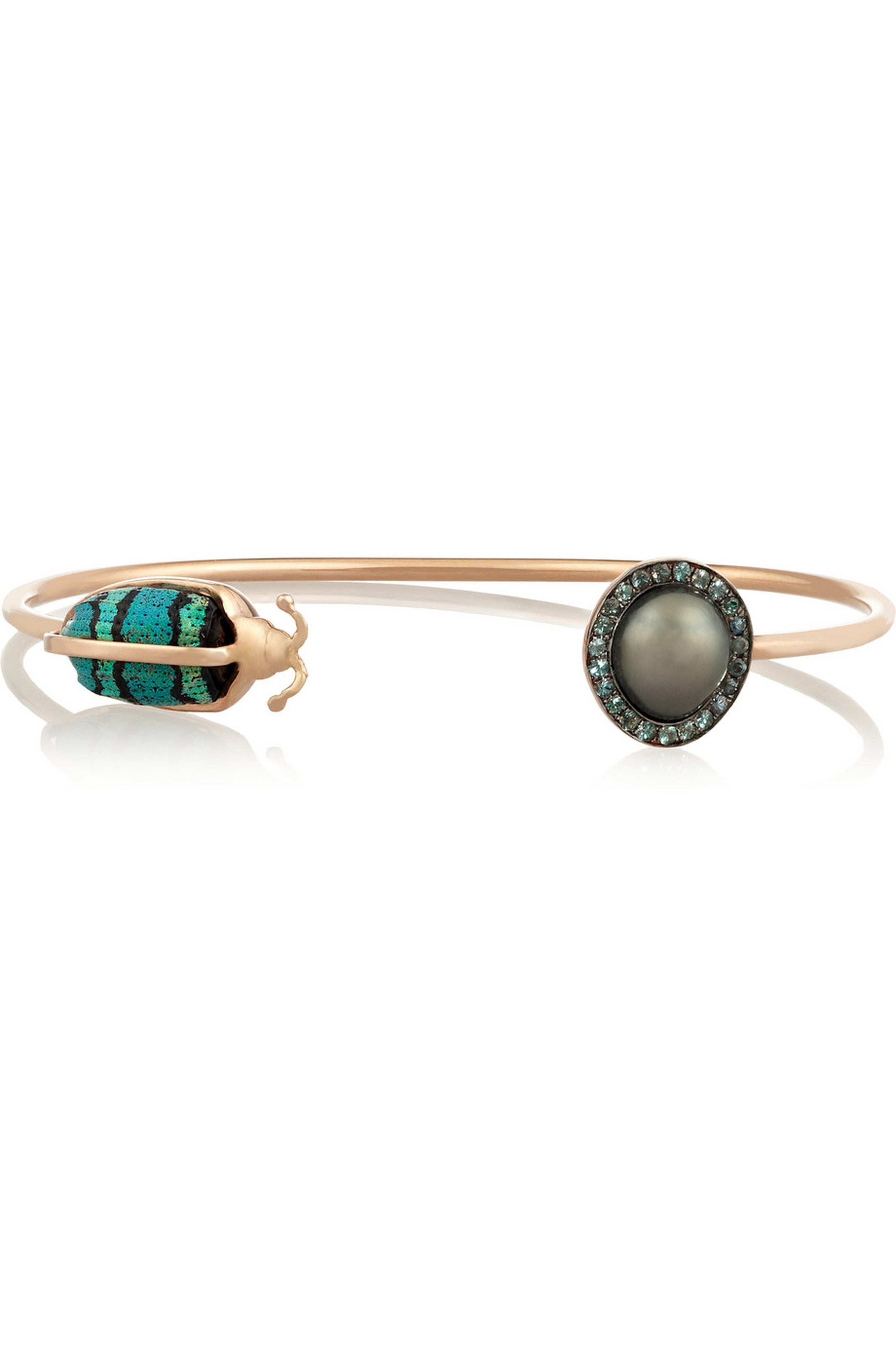 Daniela Villegas one-of-a-kind rose gold, South Sea pearl, garnet and weevil bracelet. Available at net-a-porter.com ($6,250).