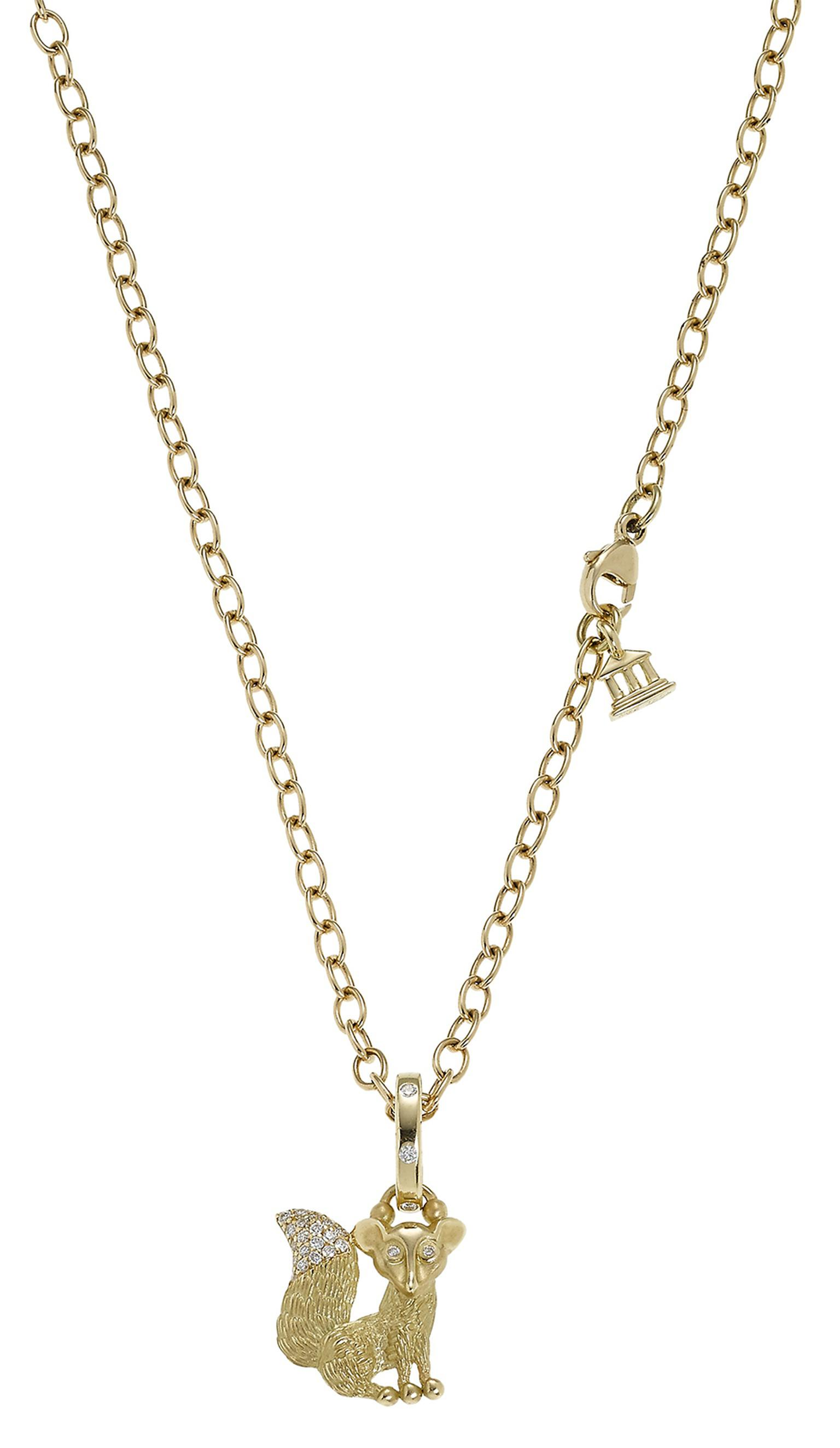 Temple St Clair Sitting Fox gold pendant with a diamond-tipped tail ($3,500).