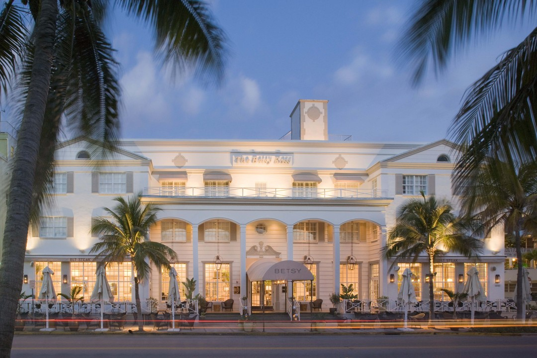 The facade of the The Betsey Hotel on Miami's South Beach. K. Brunini has been named artist-in-residence at the hotel for the duration of Art Basel Miami.