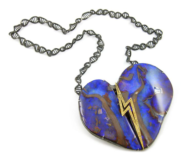 "The heart of K. Brunini's ""Robot Heart"" DNA opal necklace is a staggering 1,363.95 carat Australian opal in matrix."