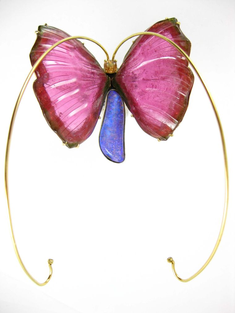 K. Brunini Spirit Animal domed butterfly ring with a Jundah opal and peach sapphire body, gold antennae and carved pink tourmaline wings that are spring-hinged to move with the wearer.