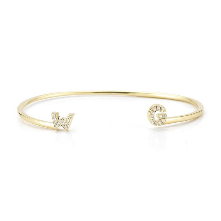 Dana Rebecca customized initial cuff, available in white, yellow or rose gold, from Stone & Strand ($1,650).