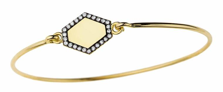 Jemma Wynne engravable bangle with pavé diamonds. Available from Single Stone ($2,850).