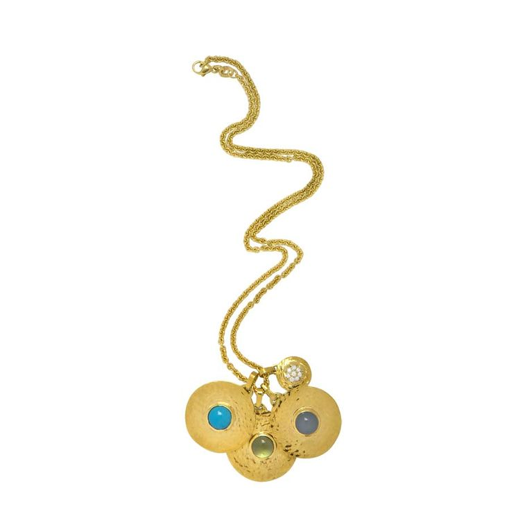 Jennifer Alfano gold Hammered Disc birthstone pendants (pendants from $1,750; chains from $400).