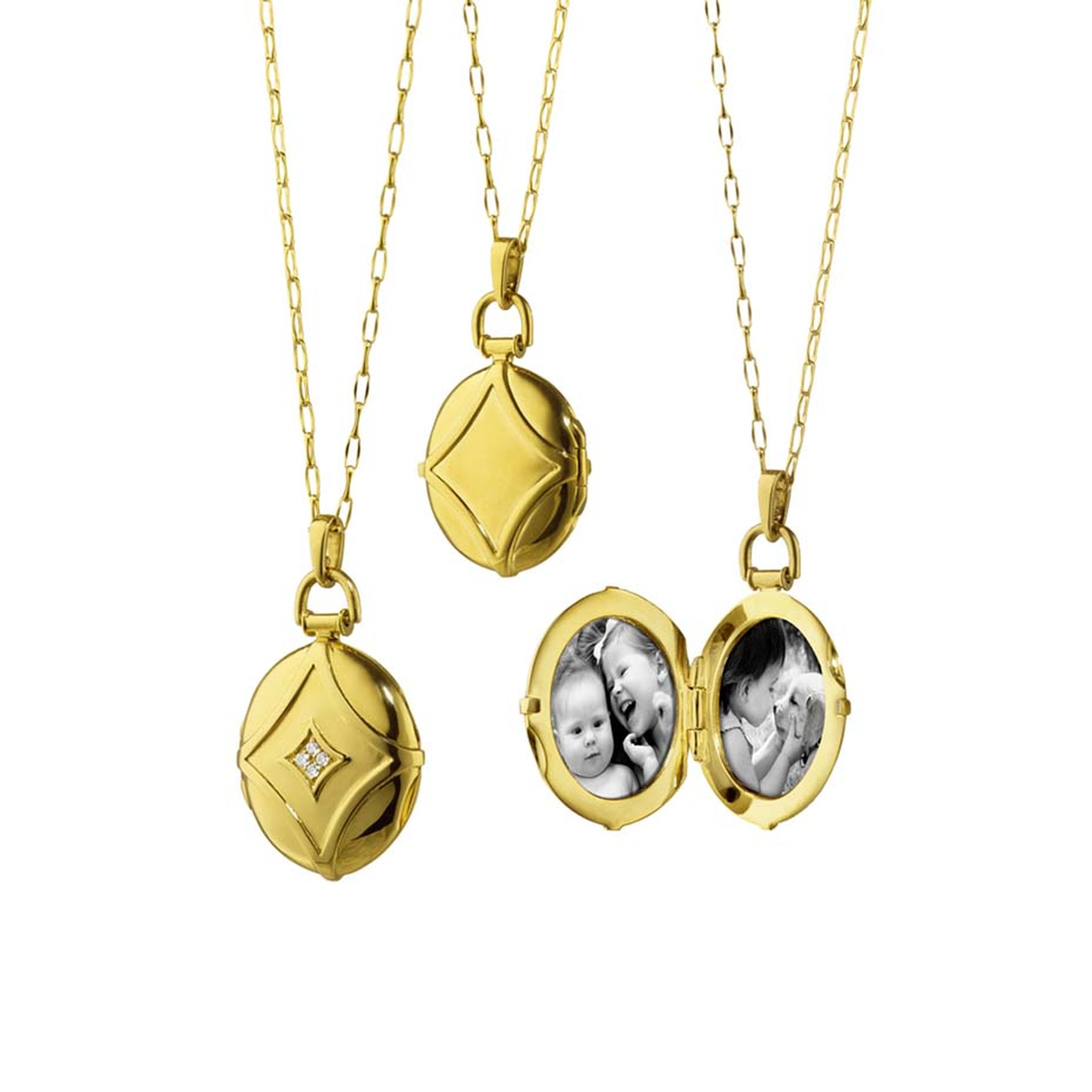 Monica Rich Kosann locket in yellow gold with diamonds ($3,900), available at Greenwich Jewelers.