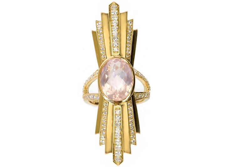 Deborah Pagani gold Talula ring featuring diamonds and rose quartz ($6,224).