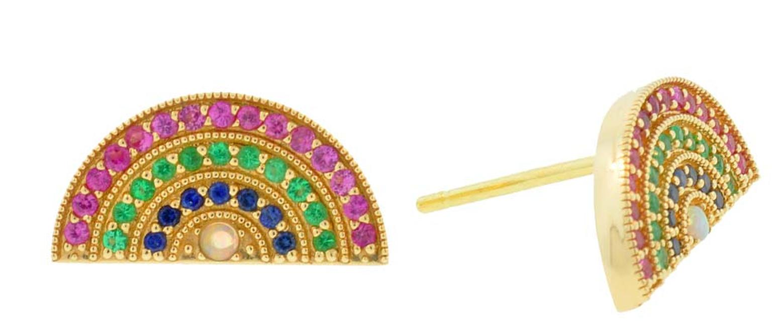 Andrea Fohrman rainbow earrings in gold with pink and blue sapphires, emeralds and opals ($1,650 each).