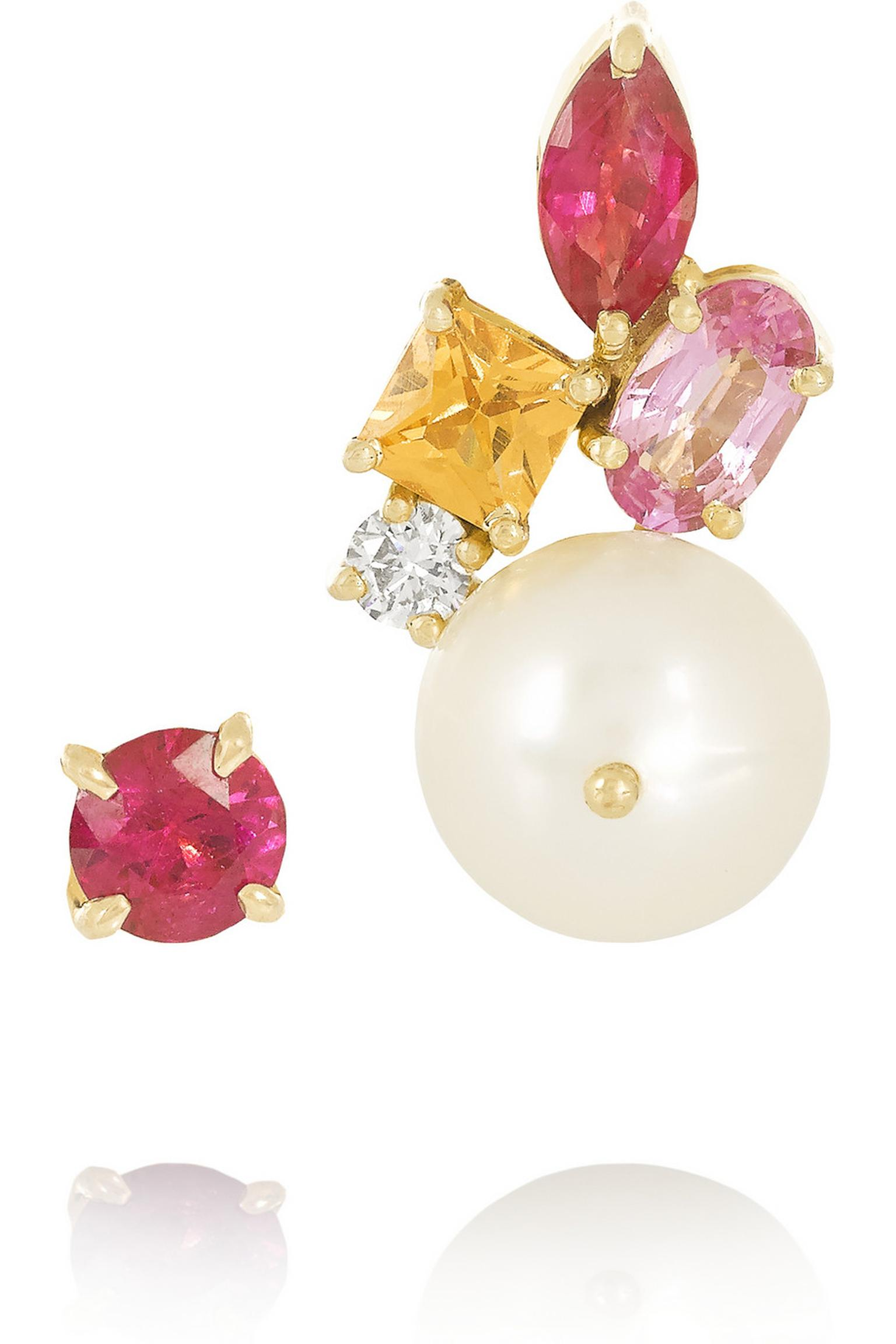 Holly Dyment mismatched pearl earrings with rubies, a mandarin garnet, a pink sapphire and a diamond ($2,270).