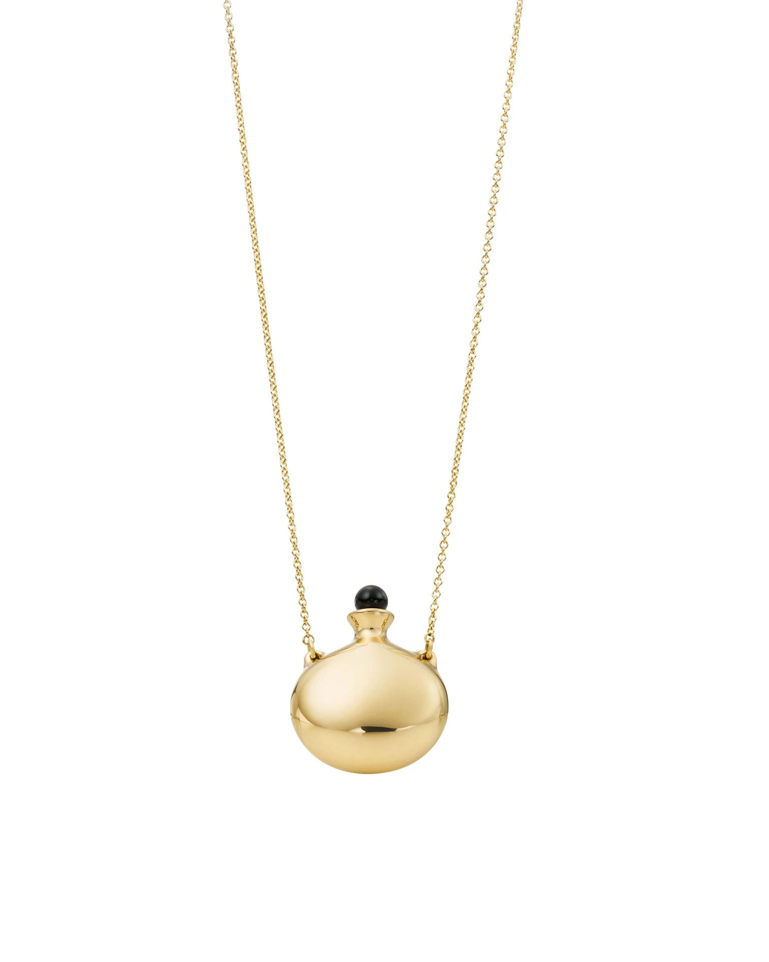 Elsa Peretti for Tiffany Bottle pendant in yellow gold with a removable lapis lazuli stopper from £3,000.