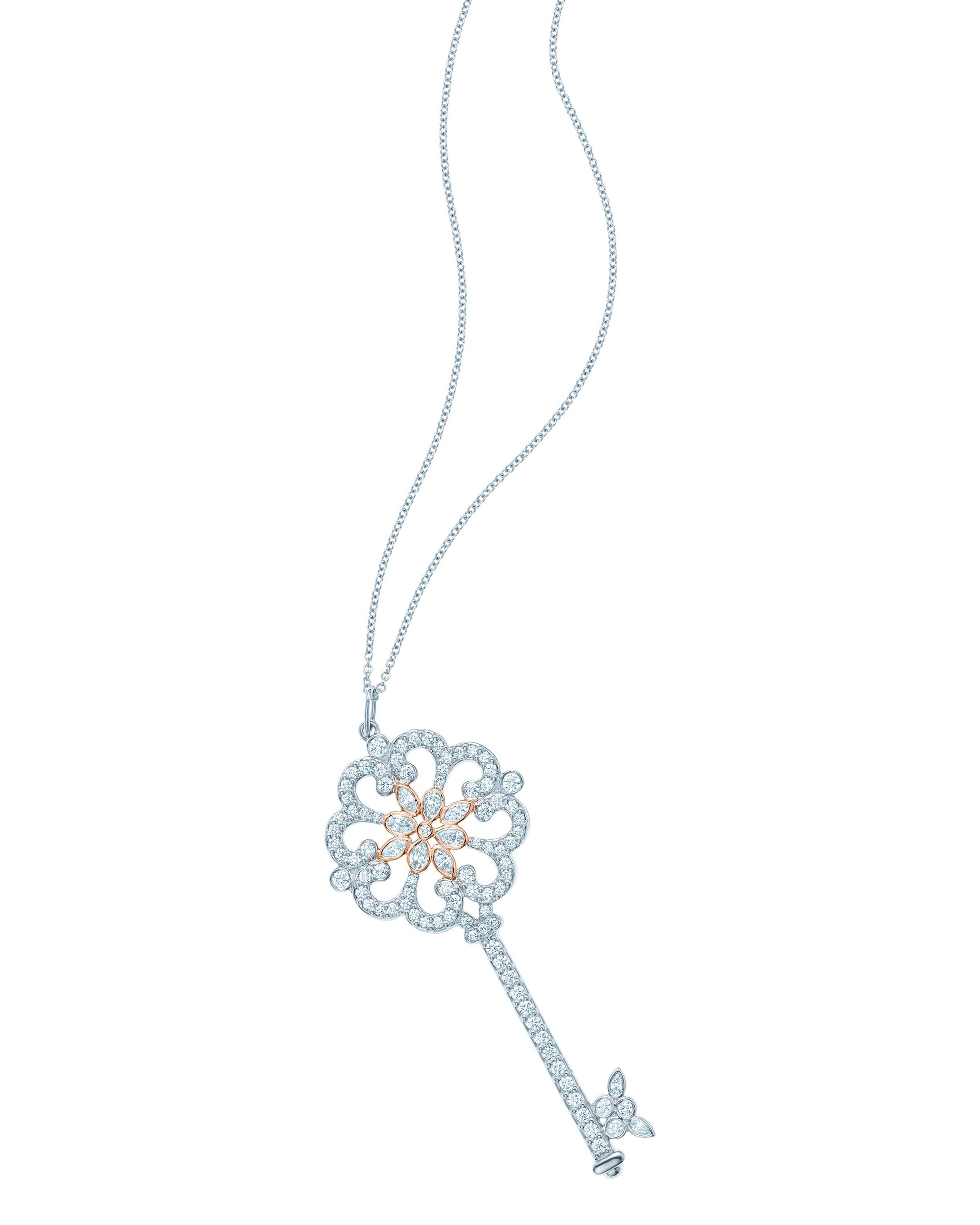 Tiffany Enchant Primrose Key pendant in platinum and rose gold with diamonds from £7,100.