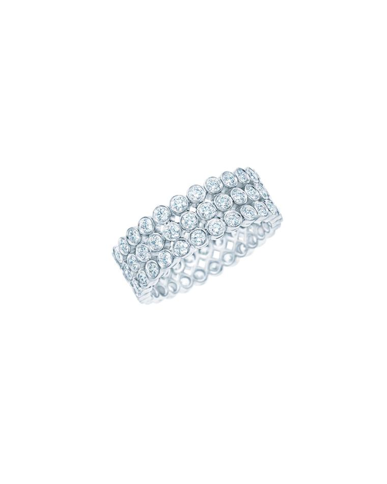 Tiffany Jazz ring with three rows of diamonds in platinum from £7,900.