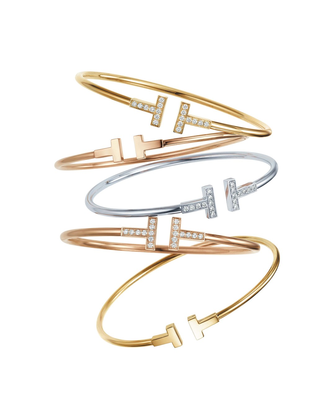 Tiffany T wire bracelets in yellow, rose and white gold, with or without diamonds from £895.