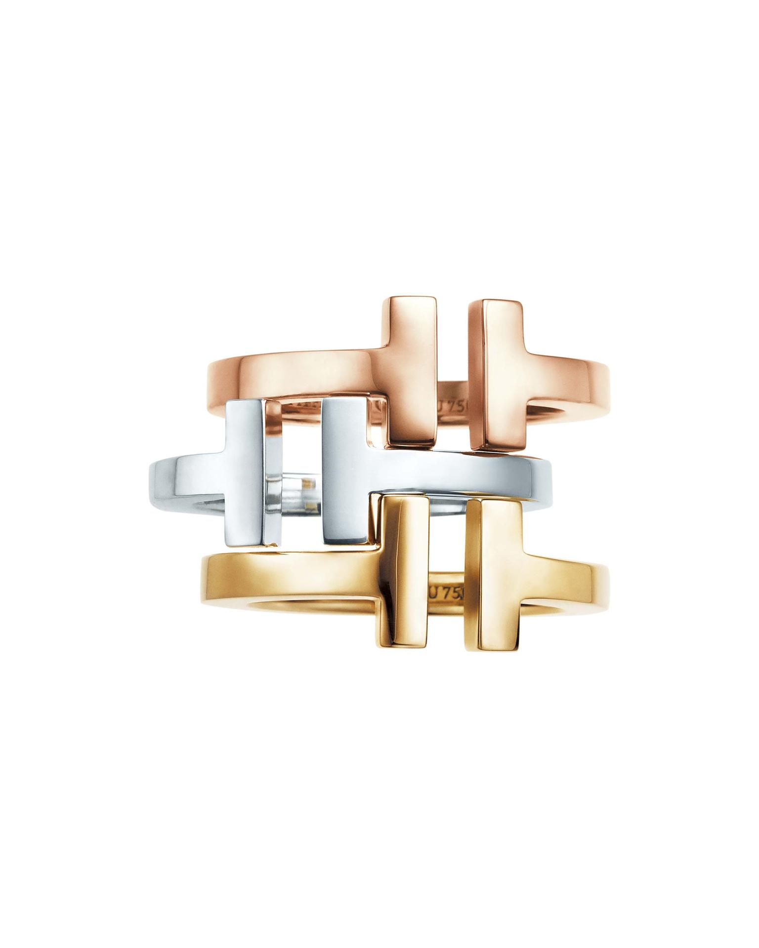 Tiffany T square rings in rose and yellow gold from £975 and silver from £300.