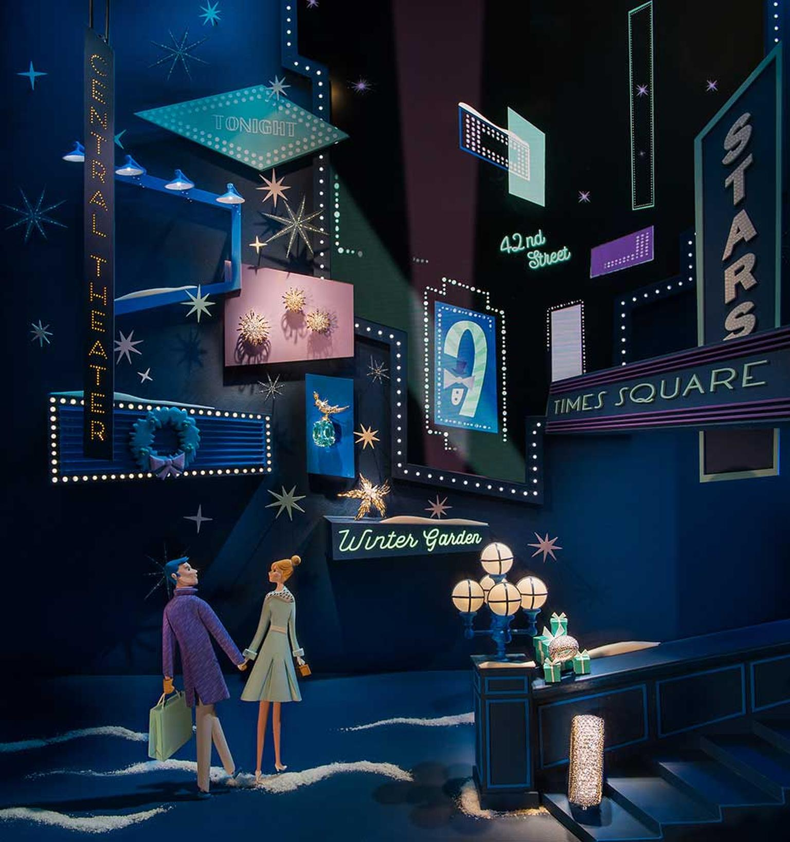 The magic of Times Square at Christmas is captured in the festive window displays at Tiffany's Bond Street boutique.