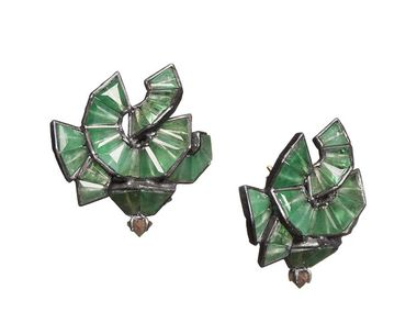 Nak Armstrong emerald Origami Button earrings with gold posts ($3,355).
