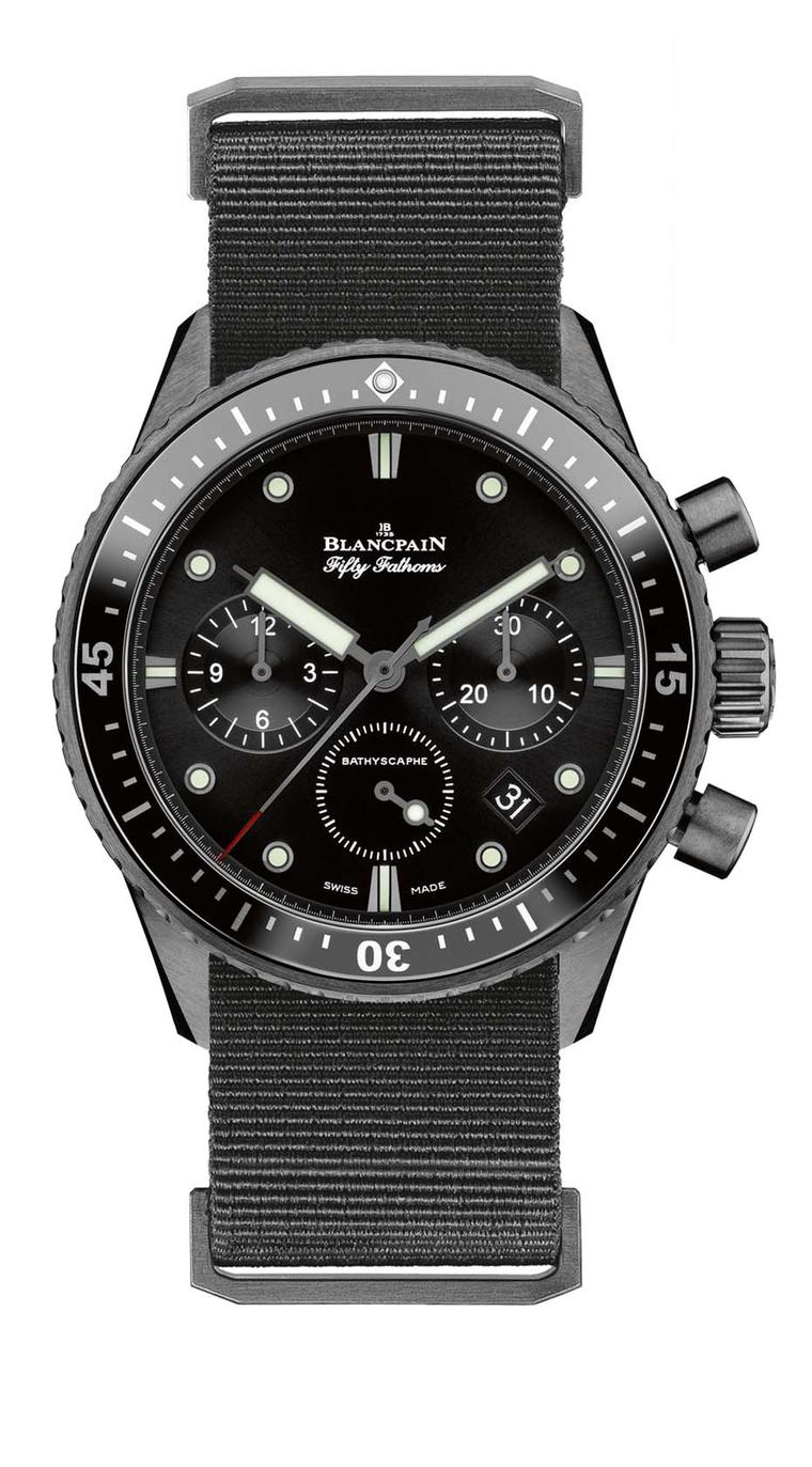 The Blancpain Fifty Fathoms Bathyscaphe was launched this year with a sophisticated flyback chronograph. The 43mm brushed black ceramic model, which offers superior scratch-resistance, is capable of braving depths of 300m.