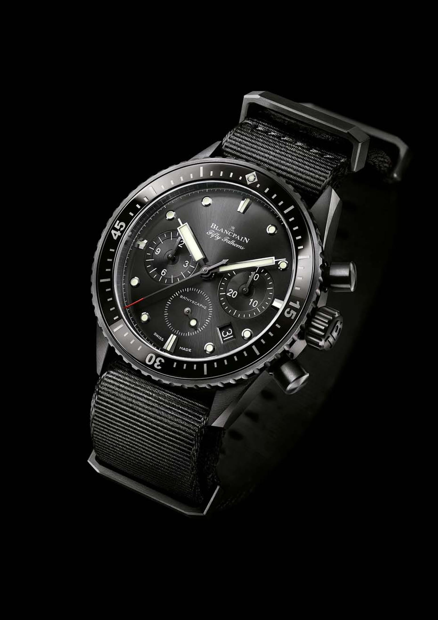 The Blancpain Fifty Fathoms Bathyscaphe was declined this year with a sophisticated flyback chronograph. The 43mm brushed black ceramic model, which offers superior scratch-resistance, is capable of braving depths of 300 metres.