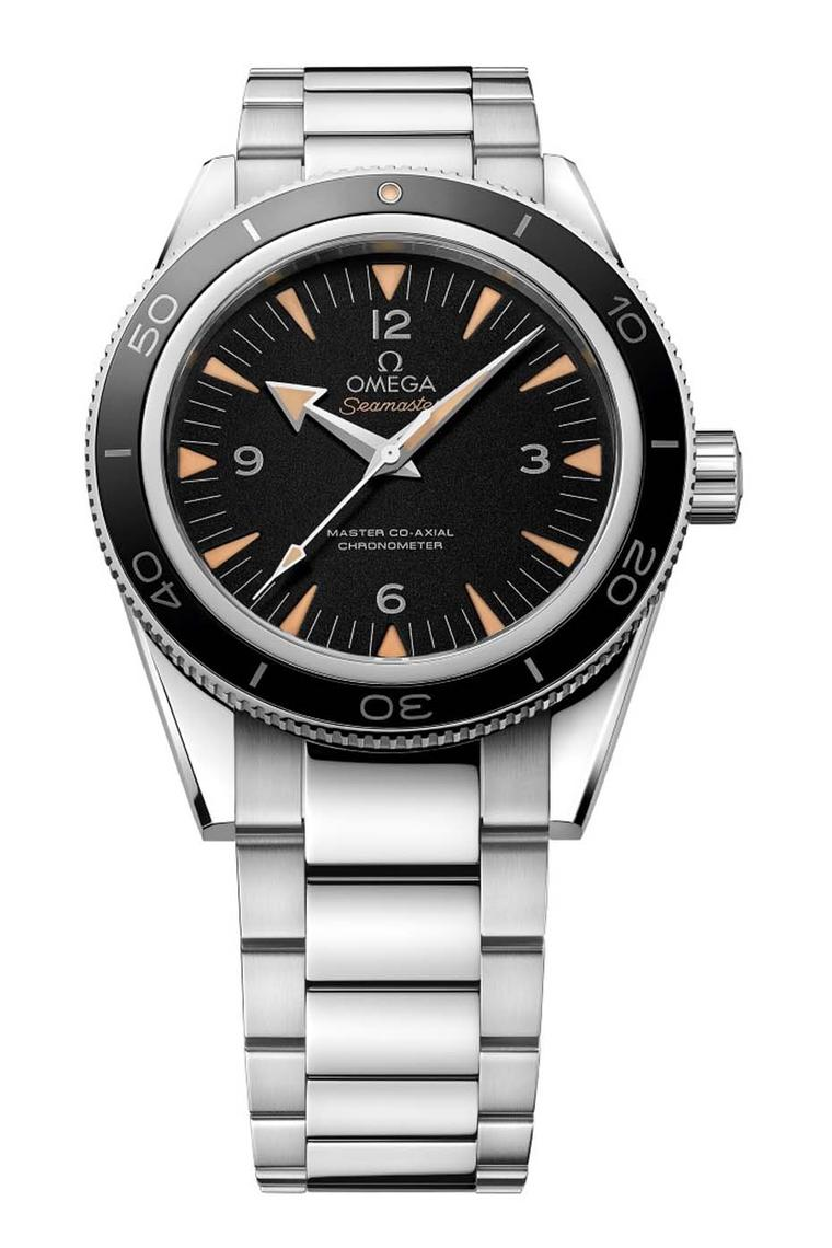 The Omega Seamaster 300 Master Co-Axial 41mm could almost be confused with the original 1957 Seamaster model that marked Omega's plunge in the deep end. Updated with Omega's Co-Axial and anti-magnetic technology, the watch is water-resistant to 300m.