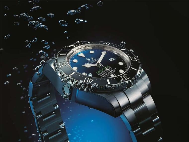 The Rolex 44mm Deepsea Sea-Dweller watch, watertight up to 4,000m, features a lightweight titanium case and a D-Blue dial to represent the changing colours of the sea.