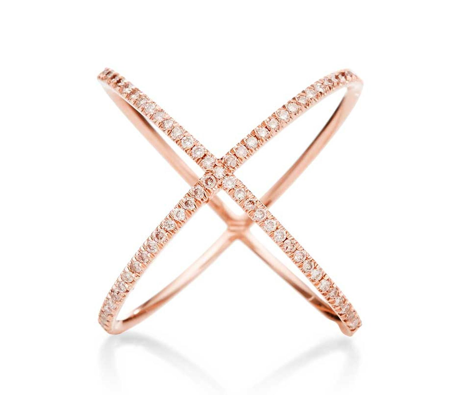 "Eva Fehren ""X"" ring in rose gold with fancy pink pavé-set diamonds. Exclusive to Moda Operandi ($8,695)."