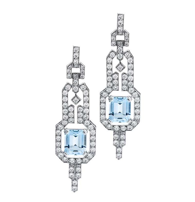 Jan Logan Empire earrings with aquamarines and diamonds ($16,850 AUD).