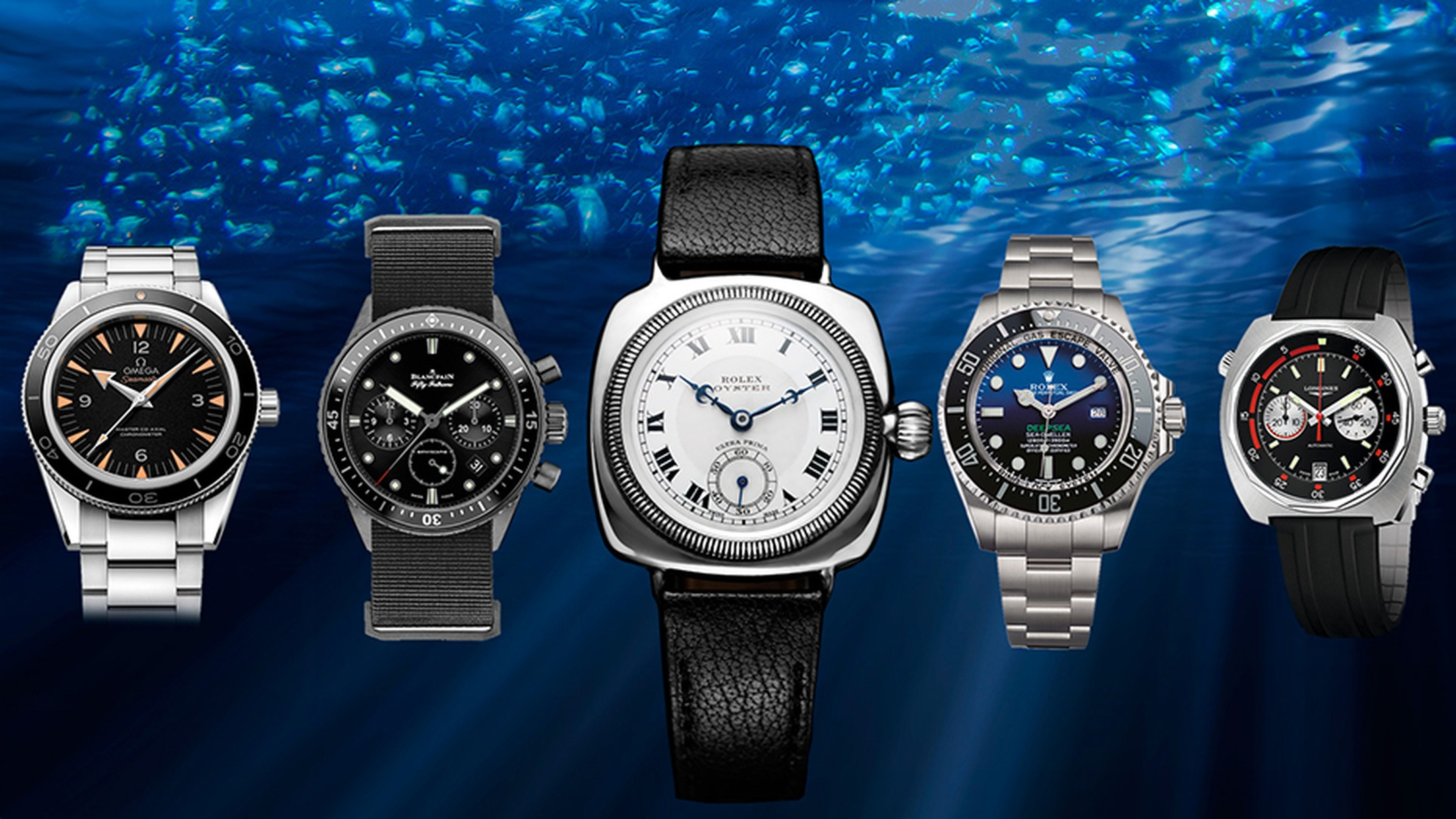 Some great retro-styled dive watches have resurfaced this year from Rolex, Blancpain, Longines and Omega. Pictured in the centre, the world's first waterproof watch: the Rolex Oyster.