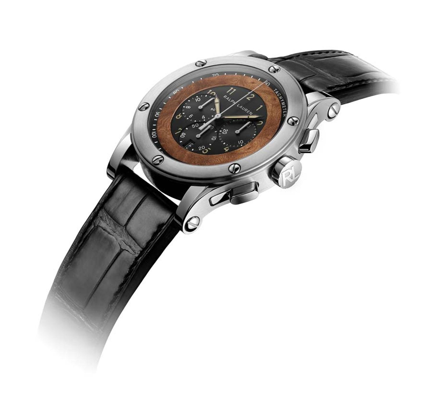 The new Ralph Lauren 45 mm Automotive Chronograph watch is a wonderful tribute to one of Ralph Lauren's favourite cars, his sleek Bugatti 57CS Coupé, which car enthusiasts around the world will remember as the winner of the Villa d'Este automobile beauty