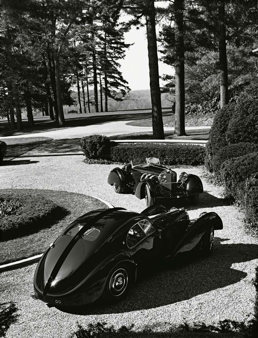 The black Bugatti 57CS Atlantic Coupé, built in 1938, just a year before the designer's birth, is an amazing creature with curves reminiscent of a Hollywood pin-up.