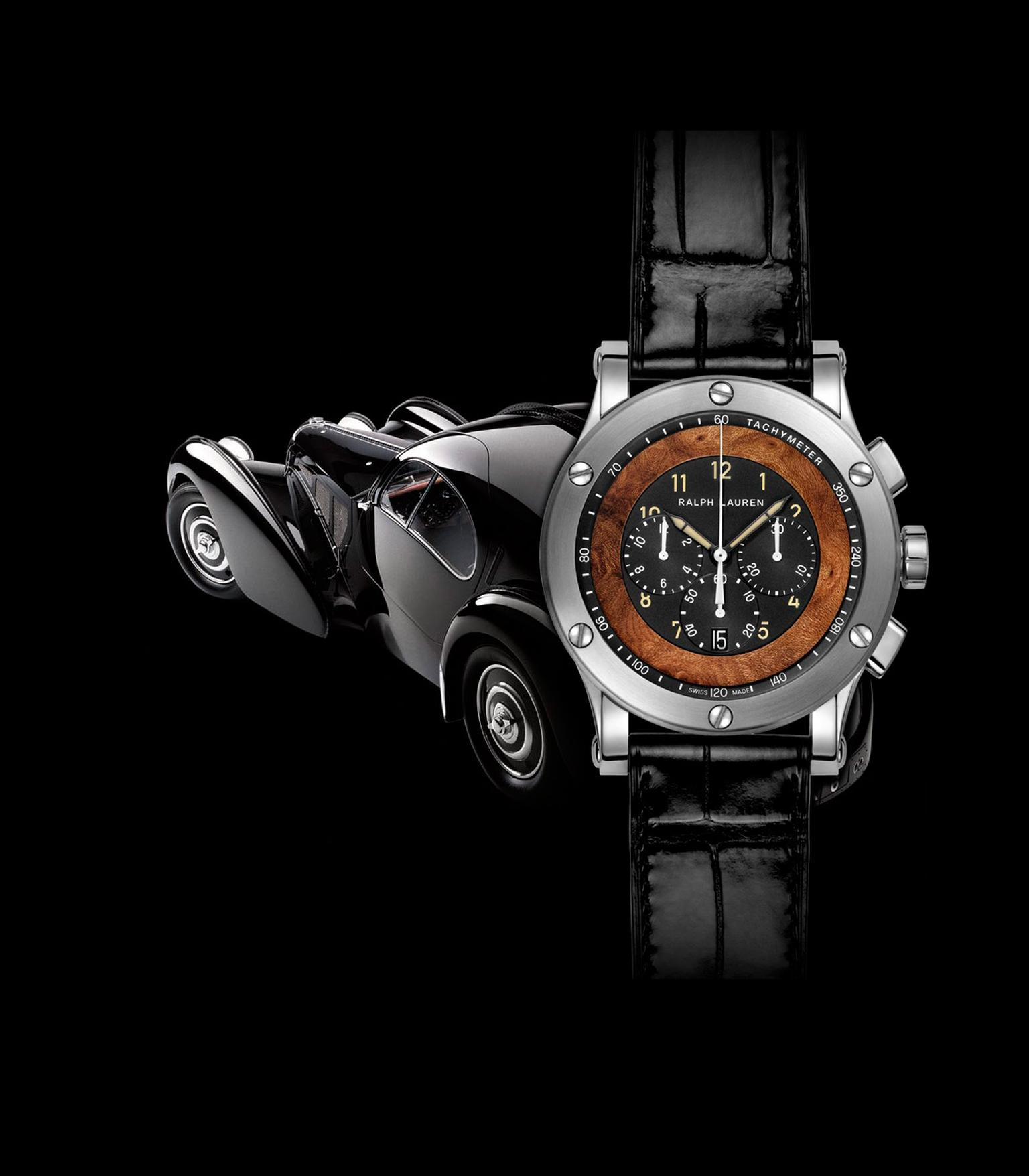 Ralph Lauren 45 mm Automotive Chronograph, inspired by Ralph Lauren's 1938 Bugatti Coupé