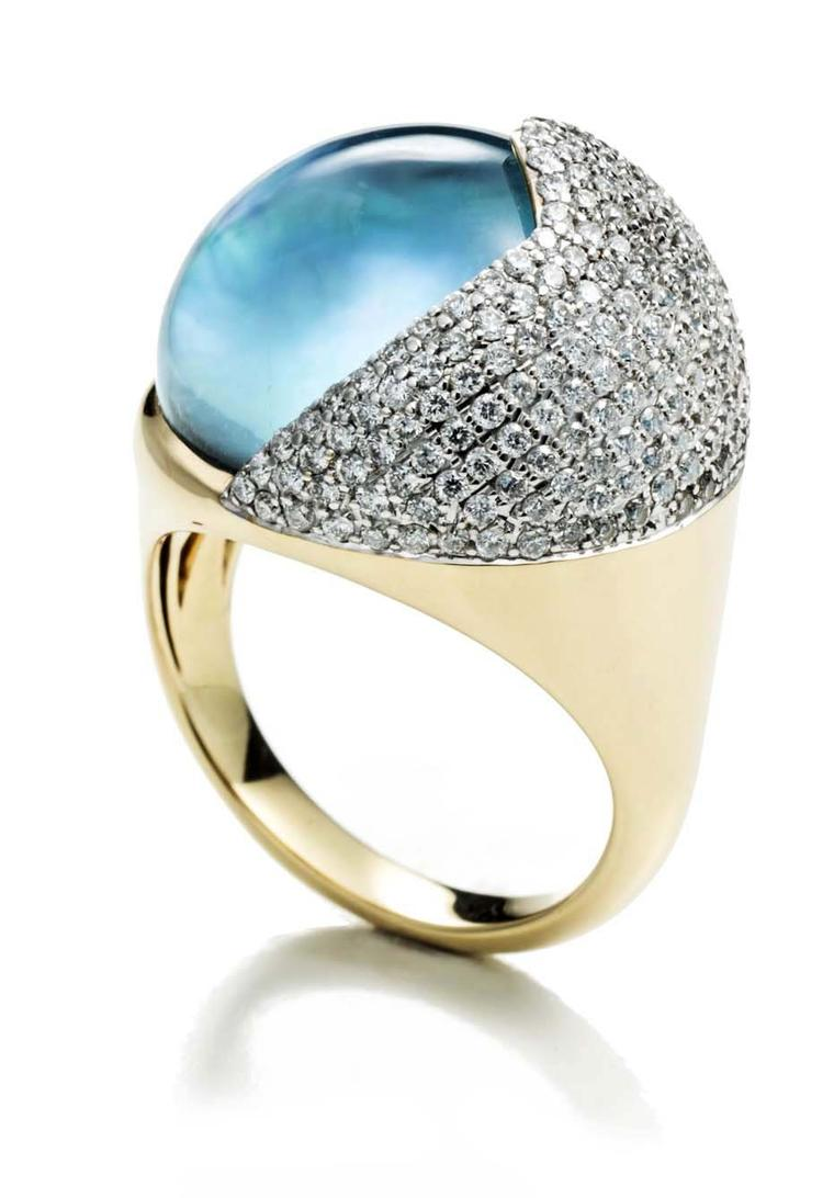 Kara Ross Petra Smooth Contour ring in gold with sky blue topaz and diamonds ($7,500).