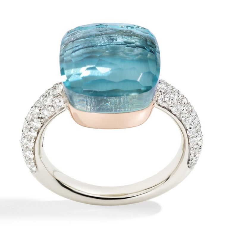 Pomellato Nudo ring with blue topaz and diamonds (£3,980).