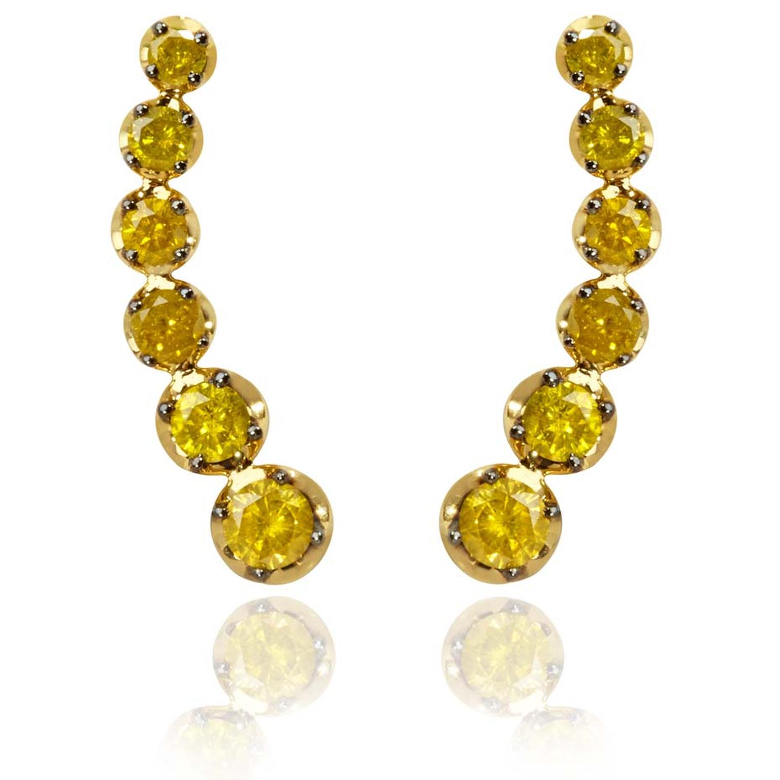 Annoushka Dusty Diamonds ear pins in yellow gold set with six yellow diamonds in descending order can be positioned on the ear in various different ways (£1,590).