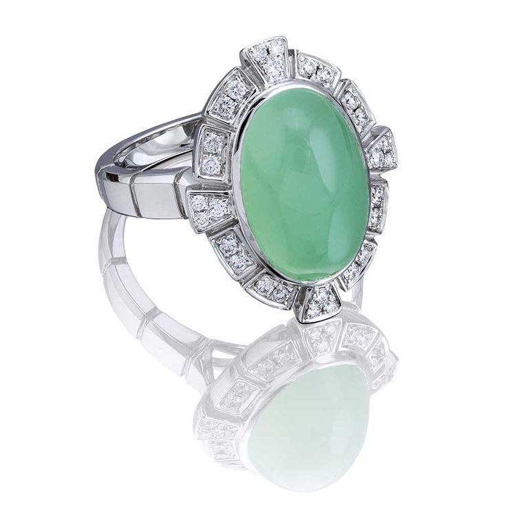 Boodles Keystone cocktail ring in white gold, set with a 6.48ct chrysoprase and round brilliant diamonds (£2,400).
